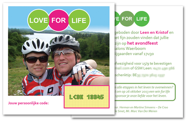 trouwkaart uitnodiging love for life