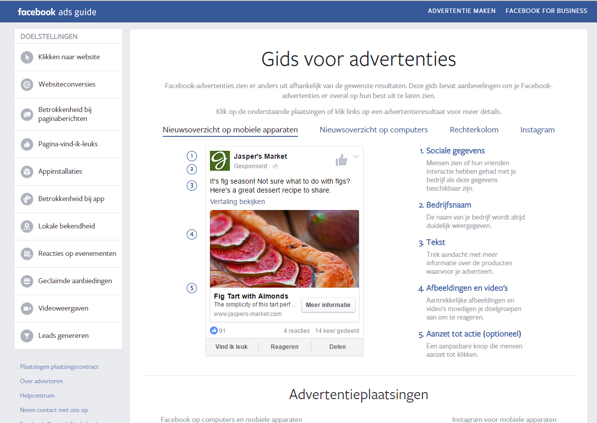 richtlijnen voor Facebook advertenties via de Facebook Ads Guide