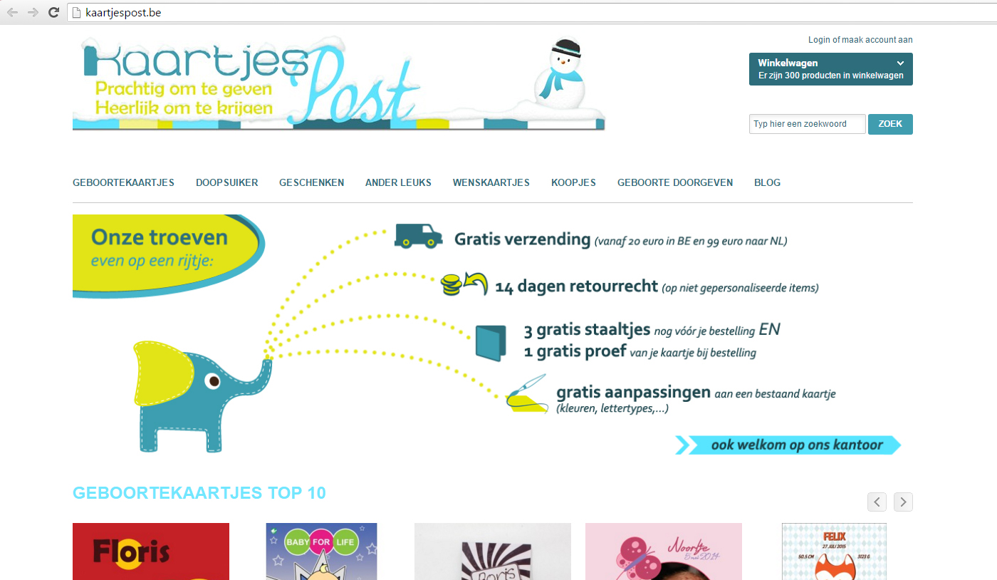 Webdesign kaartjespost
